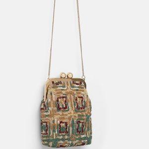 Zara Beaded Crossbody bag with clasp NWTS